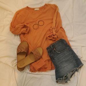 Orange Boho Oversized Top